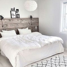 So pretty ✨ Credit: Bed Lights, Wood Headboard, Awesome Bedrooms, Home Hacks, Cozy House, Home Bedroom, Interior Design, Furniture, Home Decor