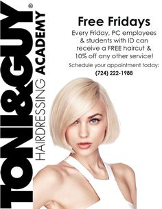 Don't forget on Fridays PC employees and students receive a free haircut and 10% off any other service! Stop by our TONI&GUY salon to get a new hairdo! Schedule your appointment at 724-222-1988. #PennCommercial #TONIGUY #Cosmetology #Newdo #Newyou #TONIGUYWashingtonPA #Haircuts #Hairdo #WashingtonPA