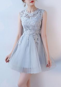 dfa3d8436f67 Grey Patchwork Lace Grenadine Zipper Sleeveless Tulle Tutu Mini Dress