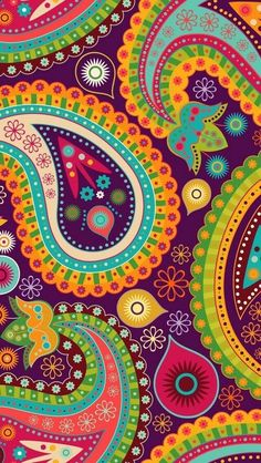 Groovy retro paisley in bright colors