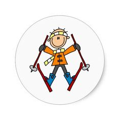Shop Winter Snow Ski Classic Round Sticker created by stick_figures. Personalize it with photos & text or purchase as is! Welcome Home Cards, Stick Figure Drawing, Winter Bulletin Boards, Wood Burning Patterns, Winter Nail Designs, Stone Painting, Rock Painting, Snow Skiing, Stick Figures