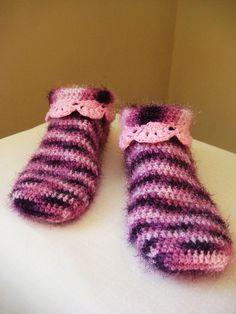 Lady's slippers, crocheted slippers, purple pink slippers, fancy slippers, lace slippers, winter slippers, girl slippers by BoryanacrochetBG on Etsy