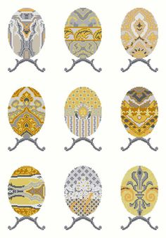 EGG SAMPLER - yellow,grey,needlepoint kit,cross stitch,embroidery,easter,diy embroidery kit,faberge,decorative,Anette Eriksson Design