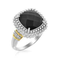 18K Yellow Gold & Sterling Silver Black Onyx and Diamond Popcorn Cushion Ring // Cable style bordered .06ct diamonds highlight the popcorn inspired texture and cushion black onyx of this gorgeous ring. Amazingly stylish in 18K yellow gold and sterling silver, this is available in sizes 7 to 9. $799.99
