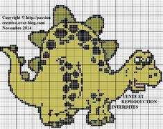 Grille gratuite point de croix : Dinosaure vert - Le blog de Isabelle