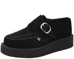 Black Suede Low Sole Round Toe Creeper | T.U.K. Shoes