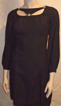 Vintage 1960s Black Crepe Sultry Cut Out Mini Dress XS B32 W28 H34