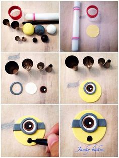 Photo only. Minion Cupcake Toppers, Minion Cupcakes, Fondant Toppers, Cake Minion, Cupcake Tutorial, Cake Topper Tutorial, Fondant Tutorial, Fondant Minions, Cake Decorating Techniques