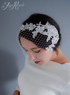 Bridal Birdcage Veil, Lace veil, Bandeau Birdcage, Russian veil, chantilly lace veil, vintage style, short veil, 20s glamour by JanaRoyaleDesign on Etsy https://www.etsy.com/listing/243452615/bridal-birdcage-veil-lace-veil-bandeau