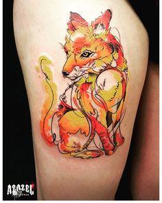Kolejny #watercolor #fox by Marta #watercolortattoo #tattoo #tatted #tatuaje #tatuaz #tatuaż #tatuaże #tatuaze #tatuazepolska @azazelwarszawa @azazelmokotowska @azazeledinburgh #beautiful #tattoos #tattooed #tatovering #ink #inked #inkedup #inklife #inkaddict #besttattoos #akwarela #lis