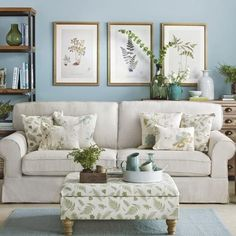 Botanical blue and green living room | housetohome.co.uk