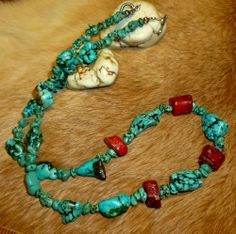 """Super chunky and super cool! Fine Vintage Dead Pawn Turquoise & Red Coral Nugget Beaded Powwow Necklace 21"""" #HandBeaded  - Only $85.45  Grab this one, wow!"""