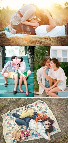 A Sweet Date! 25 Cute and Romantic Engagement Photo Ideas - Picnic Date