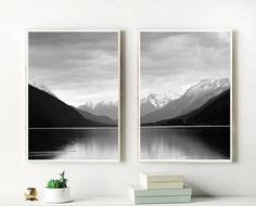 Buy this print from on Etsy Set Of 2 Prints Mountain Print Landscape Print Black And Black And White Prints, Black And White Painting, Affordable Wall Art, Mountain Photos, Scandinavian Art, Mountain Paintings, Landscape Prints, Ocean Art, Typography Prints