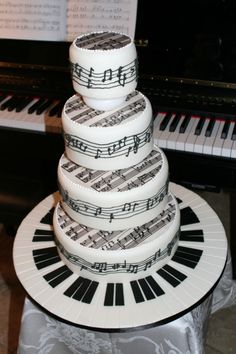 Piano Sheet Music Tiered Cake by mommykicksbutt