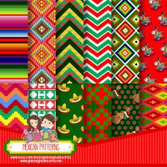 Patrones mexicanos documentos digitales Chevron por GabzClipart