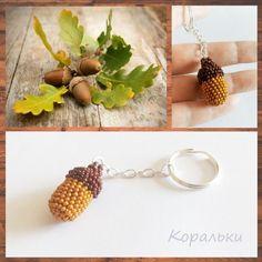 "koralky_handmade * Дармовис (брелок) для ключів «Жолудь» *  Keychain ""Аcorn"" Beaded Banners, Florals, Drop Earrings, Patterns, Beads, Jewelry, Block Prints, Beading, Patrones"