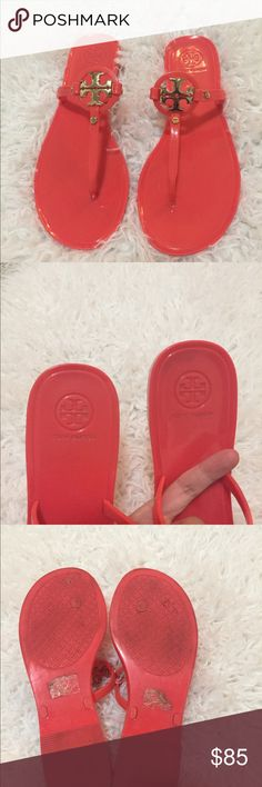 Tory Burch Women's Mini Miller Flat Jelly Sandal Pink salmon color Tory Burch Shoes Sandals