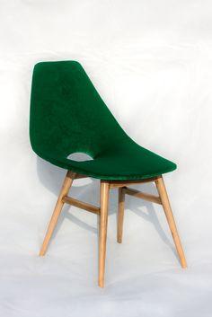 Green velvet retro chair (1959. Erika, Burian Judit)