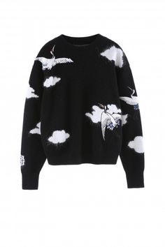 Crane black Pullover with embroideries - Forbidden Palace Capsule | Miss Sixty Online Store