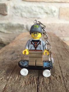 Lego Minifigure Street Skater Keychain by gagabricks on Etsy https://www.etsy.com/listing/216817565/lego-minifigure-street-skater-keychain