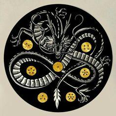 Shenron Linocut Print with Gold Leaf by WoodcutEmporium on Etsy Dragon Ball Z Shirt, Dragon Ball Gt, Dragon Shenlong, Shen Long Tattoo, Sheng Long, Z Tattoo, Manga Dragon, Anime Tattoos, Tatoos