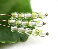 Crystal Green czech glass beads round spacers druk  by MayaHoney
