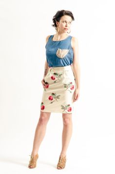 Cream pencil skirt with rose floral print and pockets by KandisIvy, $54.00 Cream Pencil Skirt, Chambray, Florals, High Waisted Skirt, Cool Outfits, Floral Prints, Pockets, Stitch, Tank Tops