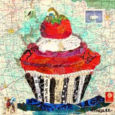"mixed media art ideas | Collage Cupcake Painting ~ ""Dear Friends"" ~ Mixed Media Painted Paper ..."