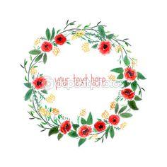 coroa de flores em aquarela com flores — Ilustração de Stock #49267503