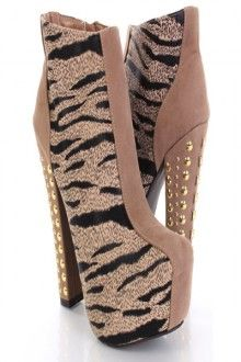 Taupe Faux Suede Zebra Print Two Tone Studded Heel Ankle Boots
