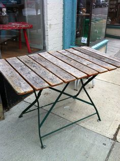 Vintage French Iron and Slat Wood Bistro Cafe Dining Table Folding Old White Paint 2 Green Based Left $325.00