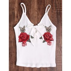 Rose Embroidered Patch Lace Up Ribbed Cami Top ($6.99) ❤ liked on Polyvore featuring tops, white, spaghetti strap tank tops, ribbed tank tops, white cami, white vest and white singlet
