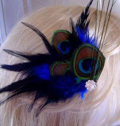 Peacock Hair Fascinator Clip COBALT BLUE, $25