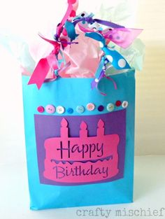 Happy Birthday Gift Bag using the Silhouette Cameo
