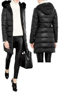 3670c914224 Joseph Fur Trim Puffer Coat in Black The Joseph Fur Trim Puffer Coat is a  thigh length quilted coat filled with duck feather and down which features  two ...