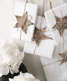 Birch bark package decorations