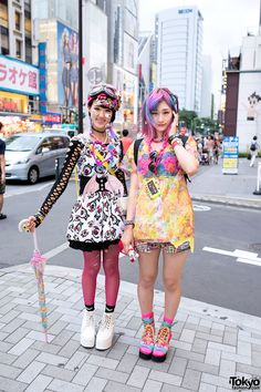 Harajuku decora girls Rikarin and Ene wearing fashion from 6%DOKIDOKI, Super Lovers, Omocha Party, Thank You Mart, Marple Q, and My Little Pony.