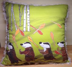 Badgers juggling decorative pillow cover by EmoryDesigns on Etsy