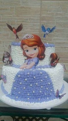 Sofia The First Birthday Cake, Little Girl Birthday Cakes, Happy Birthday Cakes, Princess Sofia Cake, Princess Sofia Birthday, Bolo Barbie, Barbie Cake, Sophia Cake, Cake Designs For Kids