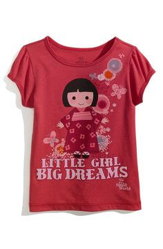 Disney, It's a Small World Puff Sleeve Tee (Little Girls) | Nordstrom