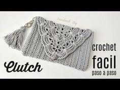 Crochet Clutch, Crochet Handbags, Crochet Purses, Crochet Bag Tutorials, Crochet Videos, Crochet Projects, Crochet Wool, Diy Crochet, Crochet Mandala Pattern