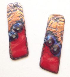 hammered textured enamelled copper charms with fused glass