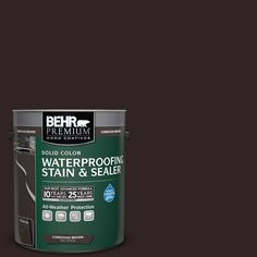 BEHR Premium 1 gal. #SC-104 Cordovan Brown Solid Color Weatherproofing All-In-One Wood Stain and Sealer