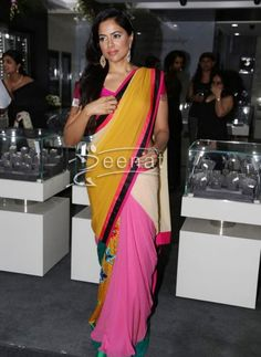 Admirable Pink Saree On Sameera Reddy