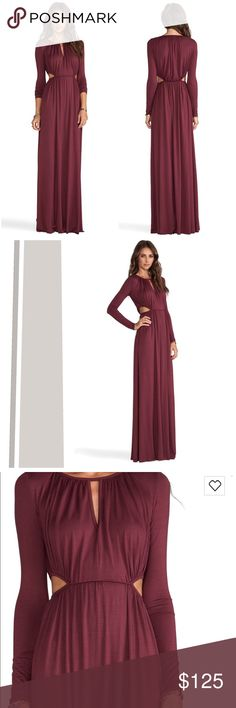 """Rachel Pally Jazz Maxi Cutout Dress Super soft modal jersey, shirred hemlines, neckline slit, waist side cutouts. Color: Pinot. About 64"""" long, lots of movement. Stretchy, soft and comfortable. Perfect condition. Rachel Pally Dresses Maxi"""