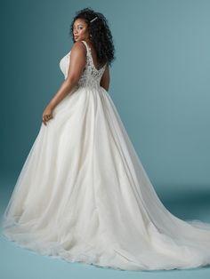A sparkling Ball Gown wedding dress for the plus-size bride. Older Bride Dresses, Plus Wedding Dresses, Maggie Sottero Wedding Dresses, Wedding Dress Pictures, Colored Wedding Dresses, Bridal Gowns, Wedding Gowns, Wedding Bells, Wedding Flowers