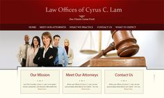 WebShark360's design for the Law Offices of Cyrus C. Lam uses bold imagery to communicate their commitment to the law.
