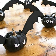 "Turn those ""little"" pumpkins into Bats! Use black acrylic paint, ornamental pumpkins, black & white craft foam, glue dots, black duct tape, toothpicks & wooden skewers. Template for wings, eyes & ears available."
