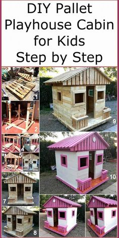 Now reshape the useless boards of wood pallets and craft a useful attractive project on your own. This DIY pallets playhouse cabin is a simple project that anyone can easily craft with the given instructions and step by step pictures in this post. Diy Pallet Projects, Outdoor Projects, Wood Projects, Pallet Kids, Easy Projects, Furniture Projects, Garden Projects, Outdoor Ideas, Pallet Playhouse